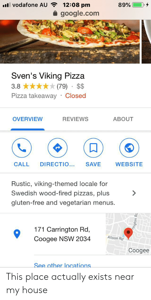 L Vodafone AU 1208 Pm 89% Googlecom Sven's Viking Pizza 79