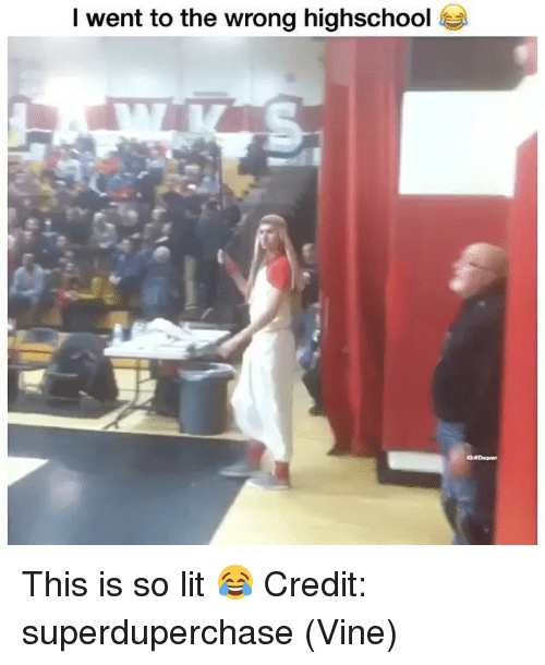 Lit, Memes, and Vine: l went to the wrong highschool This is so lit 😂 Credit: superduperchase (Vine)