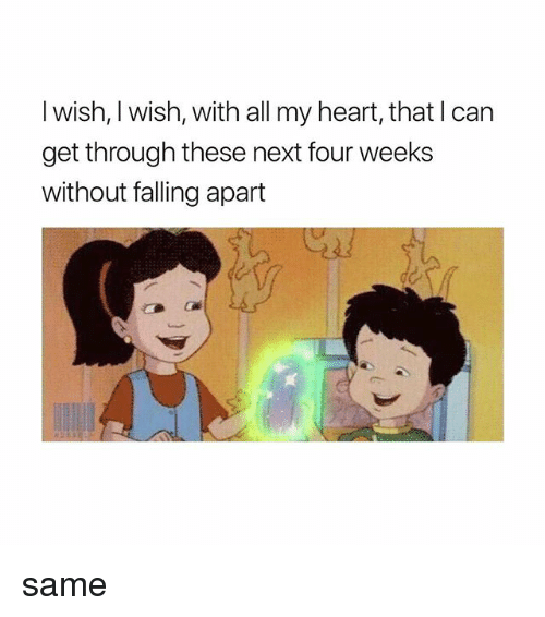 Heart, Girl Memes, and Next: l wish, I wish, with all my heart, that I can  get through these next four weeks  without falling apart same
