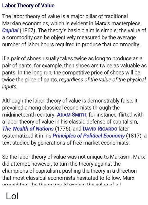 Labor Theory Of Value The Labor Theory Of Value Is A Major Illr Of