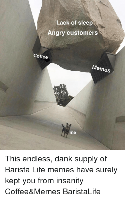 Dank, Life, and Memes: Lack of sleep  Angry customers  Coffee  Memes  me This endless, dank supply of Barista Life memes have surely kept you from insanity Coffee&Memes BaristaLife