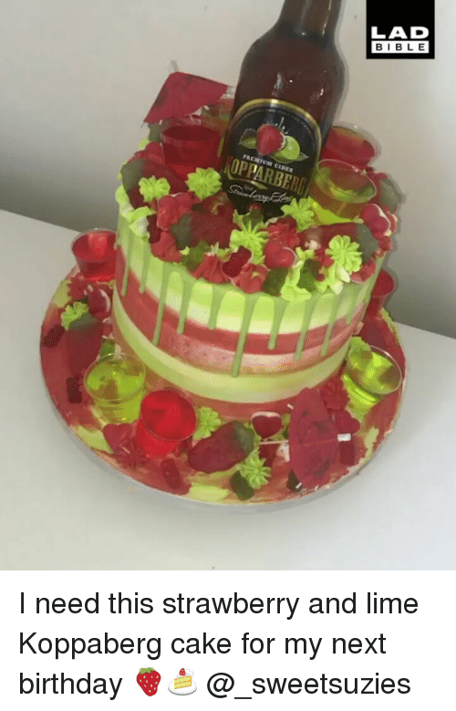 Birthday, Memes, and Cake: LAD  BIBL E  OPPARBER I need this strawberry and lime Koppaberg cake for my next birthday 🍓🍰 @_sweetsuzies