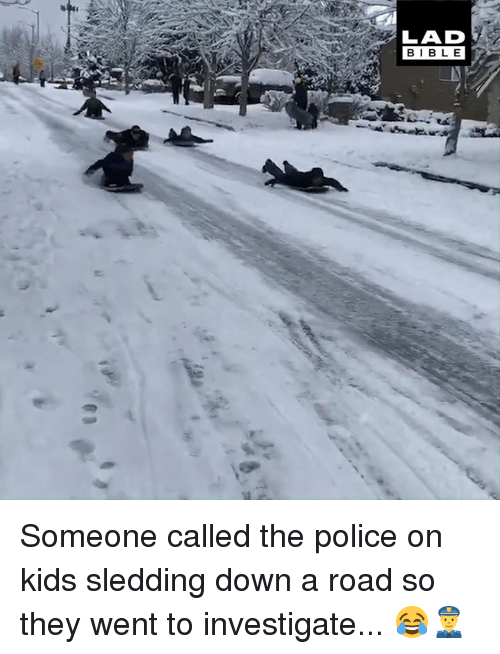 Dank, Police, and Kids: LAD  BIBL E Someone called the police on kids sledding down a road so they went to investigate... 😂👮