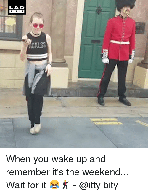 Memes, The Weekend, and 🤖: LAD  BIBL E When you wake up and remember it's the weekend... Wait for it 😂🕺 - @itty.bity