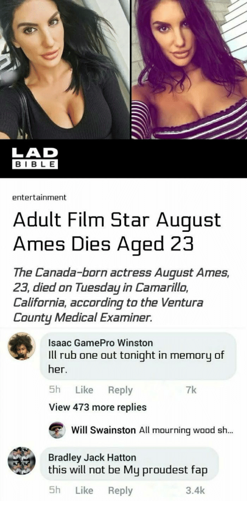 August Ames Death How >> Lad Bible Entertainment Adult Film Star Auqust Ames Dies Aged 23 The