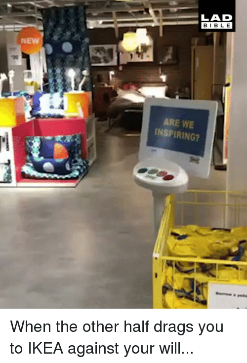 Ikea, Memes, and Bible: LAD  BIBLE  NEW  ARE WE  INSPIRING? When the other half drags you to IKEA against your will...