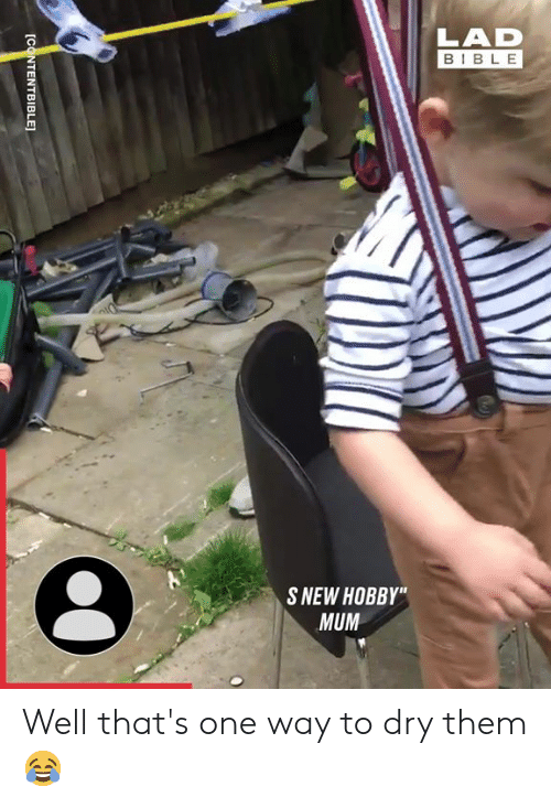 """Dank, Bible, and 🤖: LAD  BIBLE  S NEW HOBBY""""  MUM  [CONTENTBIBLE] Well that's one way to dry them 😂"""