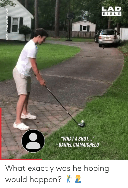 "Dank, Bible, and 🤖: LAD  BIBLE  ""WHAT A SHOT...  DANIEL CIAMAICHELO  II  IDANIEL CIAMAICHELO] What exactly was he hoping would happen? 🏌️‍♂️🤦‍♂️"