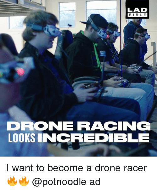 Drone, Memes, and 🤖: LAD  BLE  DRO NE RACCING  LOOKS INCREDIBLE I want to become a drone racer 🔥🔥 @potnoodle ad