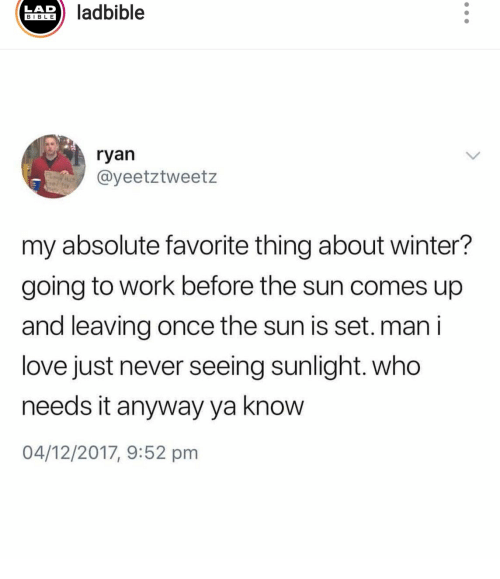 Love, Winter, and Work: ladbible  LAD  BIBLE  ryan  @yeetztweetz  P  my absolute favorite thing about winter?  going to work before the sun comes up  and leaving once the sun is set.man i  love just never seeing sunlight. who  needs it anyway ya know  04/12/2017, 9:52 pm