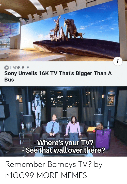 Barney, Dank, and Memes: LADBIBLE  Sony Unveils 16K TV That's Bigger Than A  Bus  Where's your TV?  Seethat wallover there? Remember Barneys TV? by n1GG99 MORE MEMES