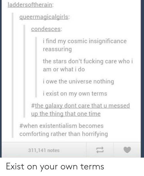 Fucking, Stars, and Time: laddersoftherain:  queermagicalgiris  condesces:  i find my cosmic insignificance  reassuring  the stars don't fucking care who i  am or what i do  i owe the universe nothing  i exist on my own terms  #the galaxy dont care that u messed  up the thing that one time  #when existentialism becomes  comforting rather than horrifying  311,141 notes Exist on your own terms