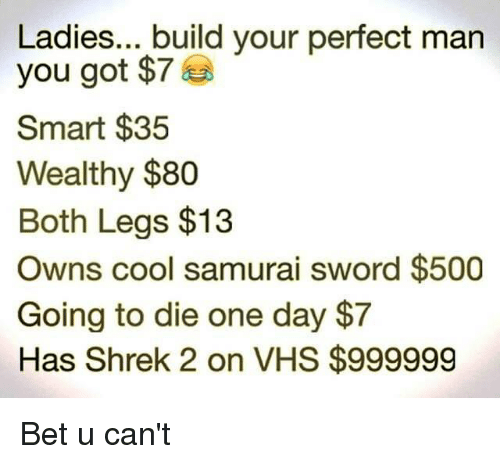 Samurai, Shrek, and Cool: Ladies... build your perfect man  you got $7  Smart $35  Wealthy $80  Both Legs $13  Owns cool samurai sword $500  Going to die one day $7  Has Shrek 2 on VHS $999999 Bet u can't