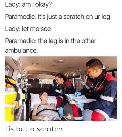 Scratch, Lady, and Ambulance: Lady: amlokay?  Paramedic: it's just a scratch on ur leg  Lady: let me see  Paramedic: the leg is in the other  ambulance.  eop Tis but a scratch