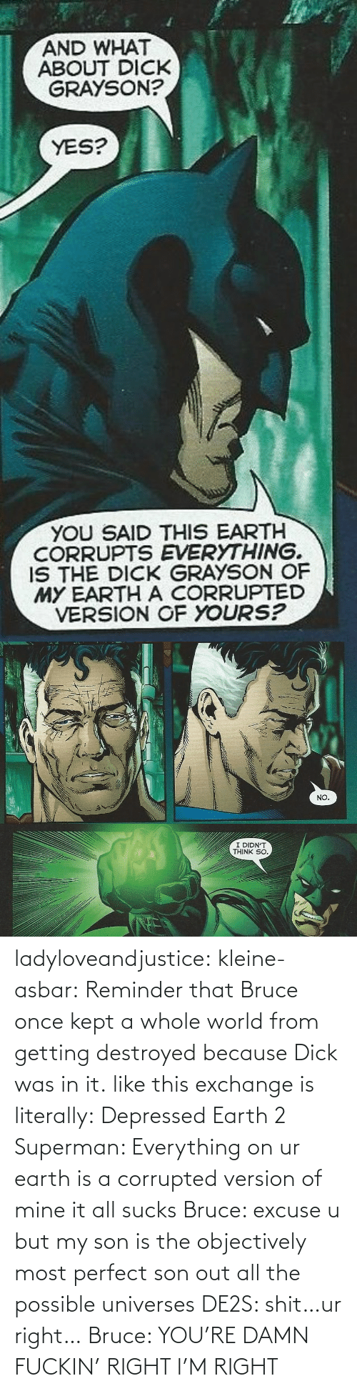 Superman, Target, and Tumblr: ladyloveandjustice:  kleine-asbar: Reminder that Bruce once kept a whole world from getting destroyed because Dick was in it. like this exchange is literally: Depressed Earth 2 Superman: Everything on ur earth is a corrupted version of mine it all sucks Bruce: excuse u but my son is the objectively most perfect son out all the possible universes DE2S: shit…ur right… Bruce: YOU'RE DAMN FUCKIN' RIGHT I'M RIGHT
