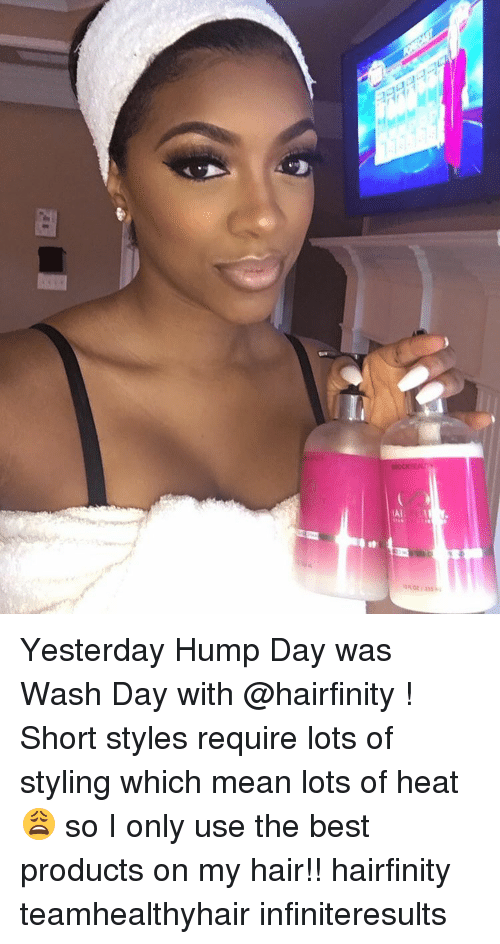 Hump Day, Memes, and Heat: LAI Yesterday Hump Day was Wash Day with @hairfinity ! Short styles require lots of styling which mean lots of heat 😩 so I only use the best products on my hair!! hairfinity teamhealthyhair infiniteresults