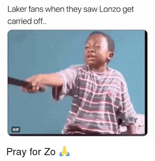Basketball, Gif, and Nba: Laker fans when they saw Lonzo get  carried off  WY  GIF Pray for Zo 🙏