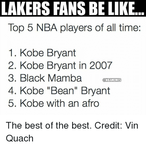 "Nba, Vin, and Top: LAKERS FANS BE LIKE  Top 5 NBA players of all time:  1. Kobe Bryant  2. Kobe Bryant in 2007  3. Black Mamba  ONBAMEMMES  4. Kobe ""Bean"" Bryant  5. Kobe with an afro The best of the best. Credit: Vin Quach"