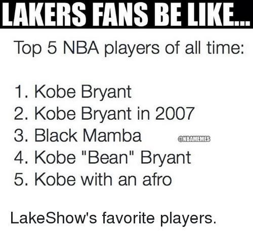 "Kobe Bryant, Nba, and Black: LAKERS FANS BE LIKE  Top 5 NBA players of all time:  1. Kobe Bryant  2. Kobe Bryant in 2007  3. Black Mamba  KONBAMEMES  4. Kobe ""Bean"" Bryant  5. Kobe with an afro LakeShow's favorite players."
