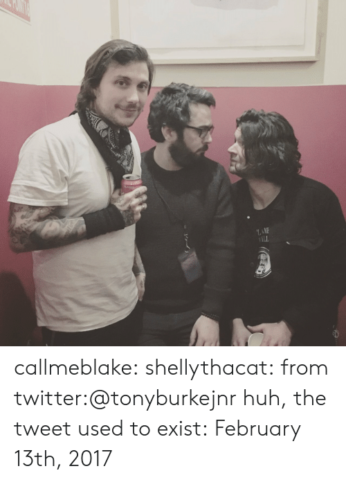 Huh, Tumblr, and Twitter: LAME  ILL callmeblake:  shellythacat: from twitter:@tonyburkejnr huh, the tweet used to exist: February 13th, 2017