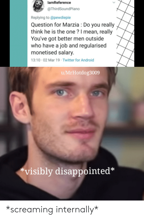 "Android, Disappointed, and Twitter: lamReference  @ThirdSoundPiano  Replying to @pewdiepie  Question for Marzia: Do you really  think he is the one? 1 mean, really  You've got better men outside  who have a job and regularised  monetised salary.  3:10.02 Mar 19 Twitter for Android  u/MrHotdog3009  ""visibly disappointed* *screaming internally*"