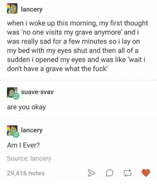 Fuck, Okay, and Humans of Tumblr: lancery  when i woke up this morning, my first thought  was 'no one visits my grave anymore' and i  was really sad for a few minutes so i lay on  my bed with my eyes shut and then all of a  sudden i opened my eyes and was like 'wait i  don't have a grave what the fuck  C suave-svav  are you okay  lancery  Am I Ever?  Source: lancery  29,416 notes