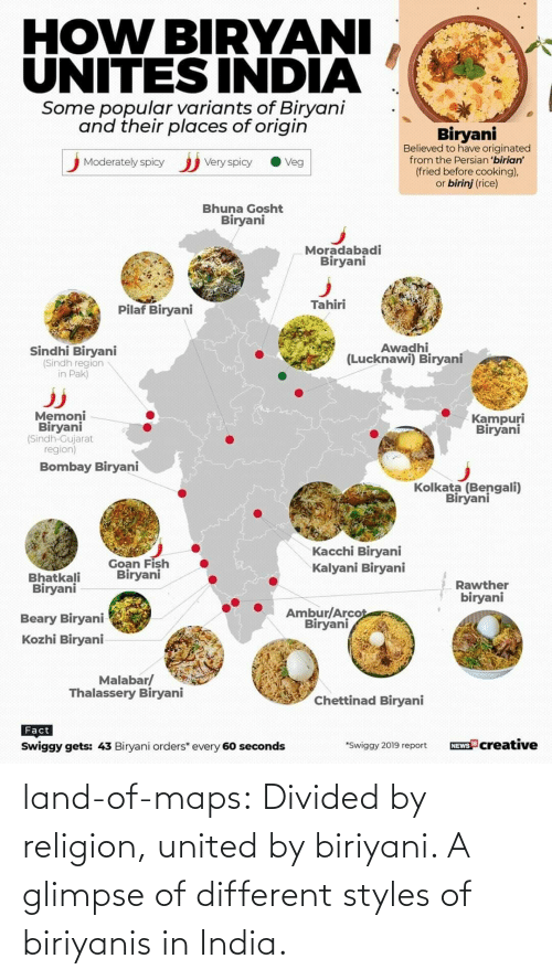 Tumblr, Blog, and India: land-of-maps:  Divided by religion, united by biriyani. A glimpse of different styles of biriyanis in India.