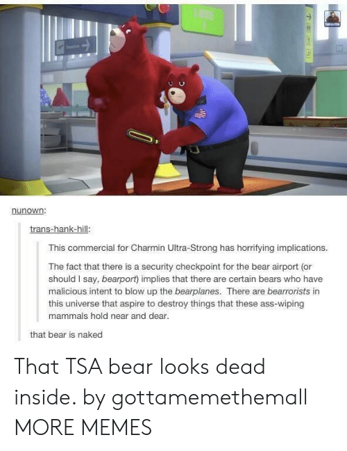 Dank, Memes, and Target: LANE  Saierb  nunown:  trans-hank-hill:  This commercial for Charmin Ultra-Strong has horrifying implications.  The fact that there is a security checkpoint for the bear airport (or  should I say, bearport) implies that there are certain bears who have  malicious intent to blow up the bearplanes. There are bearrorists in  this universe that aspire to destroy things that these ass-wiping  mammals hold near and dear.  that bear is naked That TSA bear looks dead inside. by gottamemethemall MORE MEMES