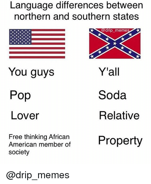 Memes, Pop, and Soda: Language differences between  northern and southern states  9d  dnp memes  Y'all  Soda  Relative  You guys  Pop  Lover  Free thinking African  American member of  society @drip_memes