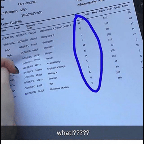 Memes, Business, and English: Lara Vaughan  m Number: 3503  Admission No: RU  3492028935038  Exam Results  Graz Mark Equr End End2 Points  Clement Tide  cods  Level  310  MACH Mthematics A(Linea Option F  375  GCSEro 4401F Bology (F)  GCSENC 402 Chemistry  GCSEFC 403 Physics  31  A7  415  10  French  16  acserc 42011 At end Design  455  10 English Language  95H  15  OA  acsEsc 321H panish  GCSEFC 2302ICT  GCSEFC 3440 Business Gtudes  what!?????