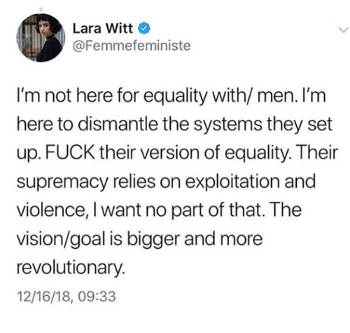 Lara Witt I'm Not Here for Equality With Men I'm Here to Dismantle