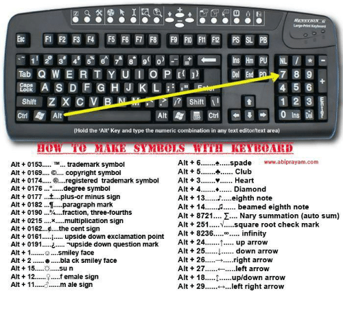 Large Print Keyboard 3 4 8 9 0 4 5 6 Shift 11 1 2 3 Shift Alt Ins