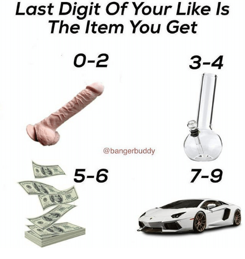 Memes, 🤖, and You: Last Digit Of Your Like Is  The Item You Get  O-2  3-4  @bangerbuddy  5-6  7-9