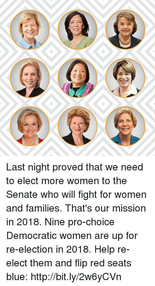 Memes, Blue, and Help: Last night proved that we need to elect more women to the Senate who will fight for women and families. That's our mission in 2018.   Nine pro-choice Democratic women are up for re-election in 2018. Help re-elect them and flip red seats blue: http://bit.ly/2w6yCVn