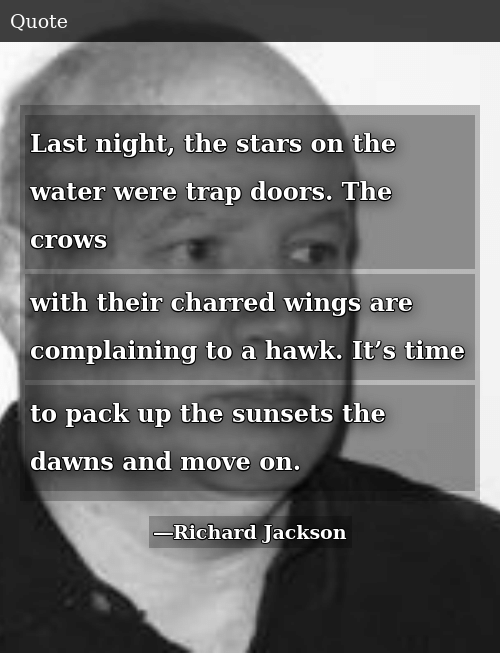 SIZZLE: Last night, the stars on the water were trap doors. The crows with their charred wings are complaining to a hawk. It's time to pack up the sunsets the dawns and move on.