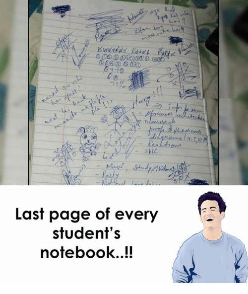 Notebook, Page, and Pages: Last page of every  student's  notebook