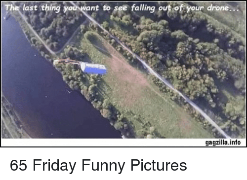 Drone, Friday, and Funny: last thing  nt to see falling o  ur drone  gagzilla.info 65 Friday Funny Pictures