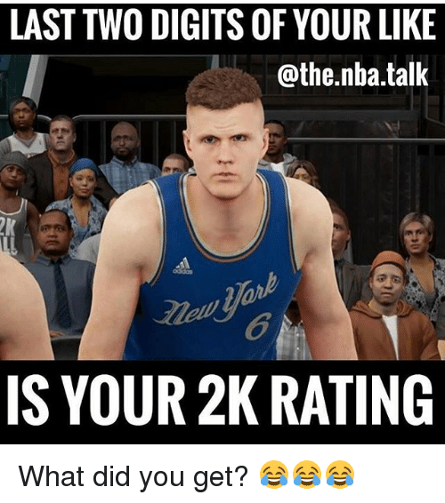 Memes, Nba, and 🤖: LAST TWO DIGITS OF YOUR LIKE  @the.nba.talk  6  IS YOUR 2K RATING What did you get? 😂😂😂