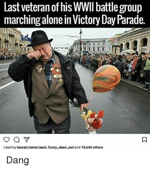 last veteran of his wwii battle group marching alone in 20852483 ✅ 25 best memes about funny clean funny clean memes,Memes Clean