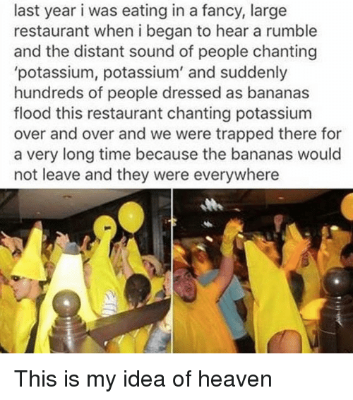 Funny, Heaven, and Fancy: last year i was eating in a fancy, large  restaurant when i began to hear a rumble  and the distant sound of people chanting  potassium, potassium' and suddenly  hundreds of people dressed as bananas  flood this restaurant chanting potassium  over and over and we were trapped there for  a very long time because the bananas would  not leave and they were everywhere This is my idea of heaven