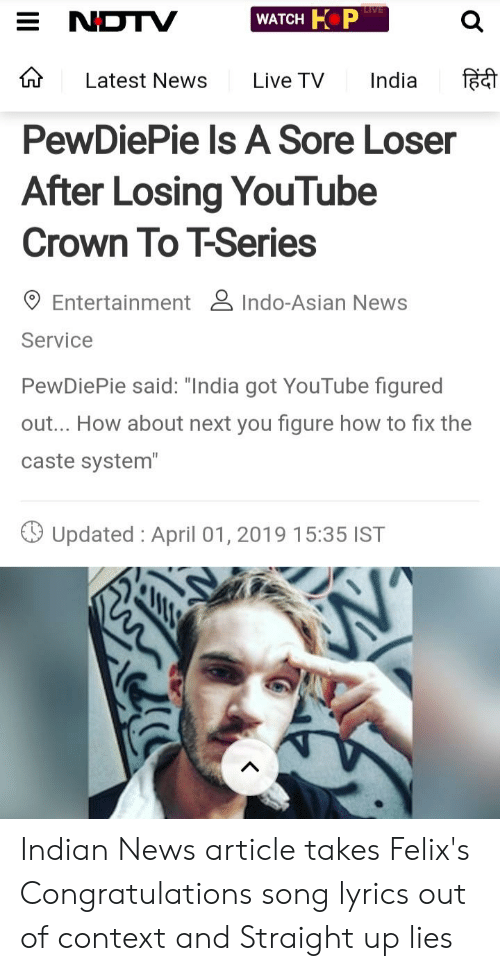 Latest News Live TV India F PewDiePie Ls a Sore Loser After