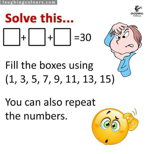 Laughing Colours Co M Solve This 30 Fill The Boxes Using 1 3 5 7 9
