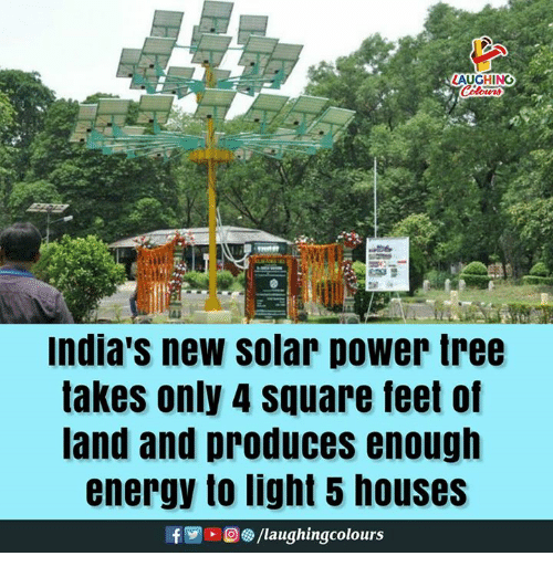 Energy, Power, and Square: LAUGHING  Indla's new solar power tree  akes only 4 square feet of  and and produces enough  energy to light 5 houses