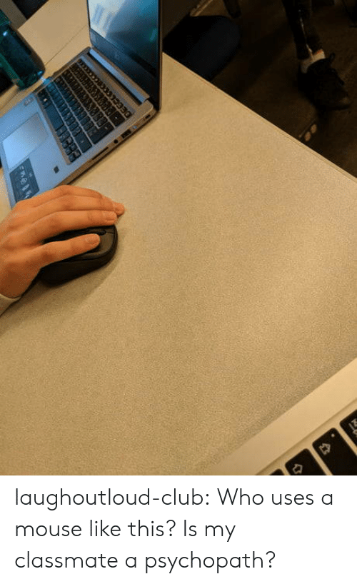 Club, Tumblr, and Blog: laughoutloud-club:  Who uses a mouse like this? Is my classmate a psychopath?