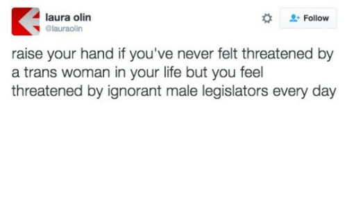 Ignorant, Life, and Never: laura olin  + Follow  @lauraolin  raise your hand if you've never felt threatened by  a trans woman in your life but you feel  threatened by ignorant male legislators every day