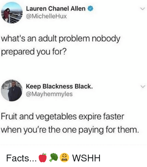 Facts, Memes, and Wshh: Lauren Chanel Allen  @MichelleHux  what's an adult problem nobody  prepared you for?  Keep Blackness Black.  @Mayhemmyles  Fruit and vegetables expire faster  when you're the one paying for them Facts...🍎🥦😩 WSHH