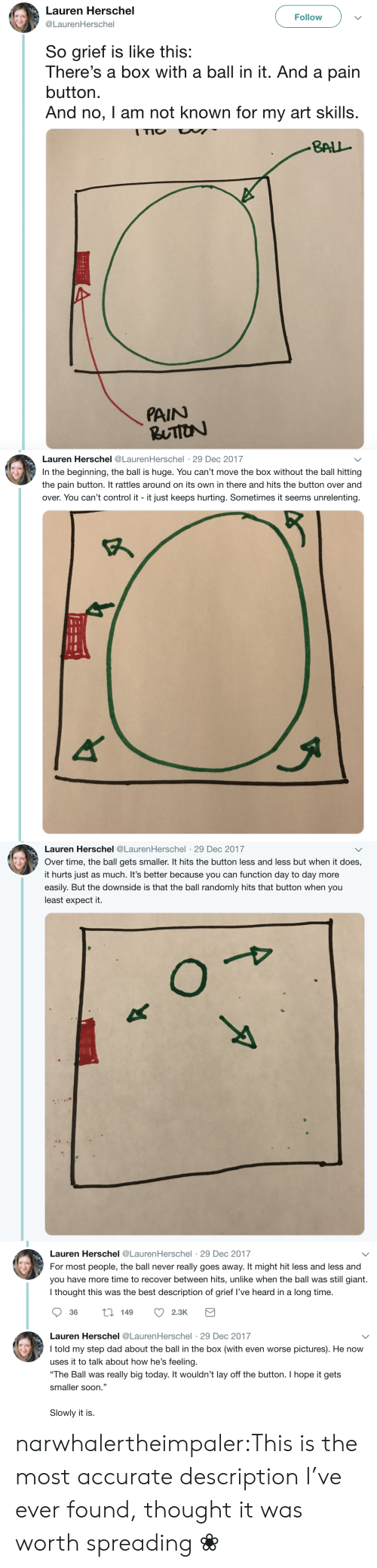 """Dad, Soon..., and Tumblr: Lauren Herschel  Follow  @LaurenHerschel  So grief is like this:  There's a box with a ball in it. And a pain  button  And no, I am not known for my art skills.  ITIO  BALL  PAIN  RUTION   Lauren Herschel @LaurenHerschel 29 Dec 2017  In the beginning, the ball is huge. You can't move the box without the ball hitting  the pain button. It rattles around on its own in there and hits the button over and  over. You can't control it it just keeps hurting. Sometimes it seems unrelenting   Lauren Herschel @LaurenHerschel 29 Dec 2017  .  Over time, the ball gets smaller. It hits the button less and less but when it does,  it hurts just as much. It's better because you can function day to day more  easily. But the downside is that the ball randomly hits that button when you  least expect it.  O   Lauren Herschel @LaurenHerschel 29 Dec 2017  For most people, the ball never really goes away. It might hit less and less and  you have more time to recover between hits, unlike when the ball was still giant.  I thought this was the best description of grief I've heard in a long time.  t149  36  2.3K  Lauren Herschel @LaurenHerschel 29 Dec 2017  .  I told my step dad about the ball in the box (with even worse pictures). He now  uses it to talk about how he's feeling.  """"The Ball was really big today. It wouldn't lay off the button. I hope it gets  smaller soon.""""  Slowly it is. narwhalertheimpaler:This is the most accurate description I've ever found, thought it was worth spreading ❀"""