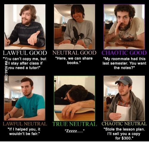 LAWFUL GOOD NEUTRAL GOOD CHAOTIC GOOD You Can\'t Copy Me but Here We ...
