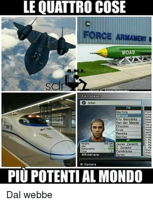 Memes, Camera, and 🤖: LE QUATTRO COSE  FORCE ARMAMom  MOA  Edit player  O Inter  Martins  Attac  Defer  Killy Gonzalez  an der Meyde  Stam  houtos  oba  rfeo  Javier Zanett  C. Zanetti  Nat  Cambiasso  Foot  C Adriano  Veron  Camera  PIU POTENTIAL MONDO Dal webbe