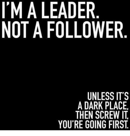 Leader Not A Follower Unless It S A Dark Place Then Screw It You Re